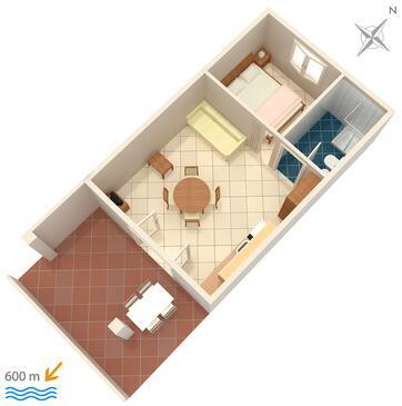 Banjol, Půdorys v ubytování typu apartment, domácí mazlíčci povoleni a WiFi.