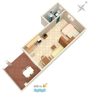 Banjol, Plan in the studio-apartment, (pet friendly) and WiFi.