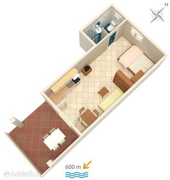 Banjol, Pôdorys v ubytovacej jednotke studio-apartment, domáci miláčikovia povolení a WiFi.