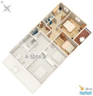 Jezera, Plan kwatery w zakwaterowaniu typu apartment, dopusteni kucni ljubimci i WIFI.