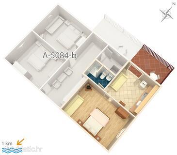 Murter, Půdorys v ubytování typu apartment, WiFi.
