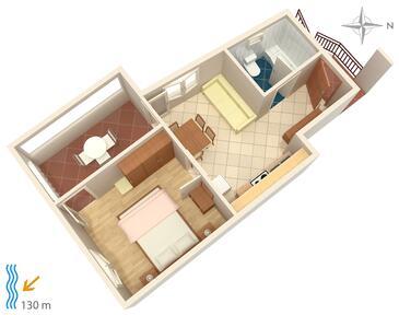 Tisno, Půdorys v ubytování typu apartment.