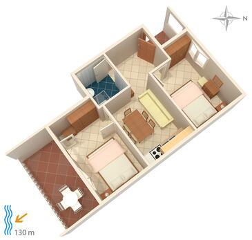 Tisno, Plan kwatery w zakwaterowaniu typu apartment.