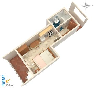 Tisno, Plan in the studio-apartment.