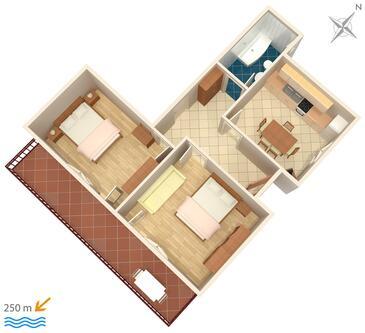 Jezera, Plan kwatery w zakwaterowaniu typu apartment, zwierzęta domowe są dozwolone.