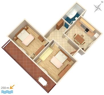 Jezera, Plan in the apartment, (pet friendly).