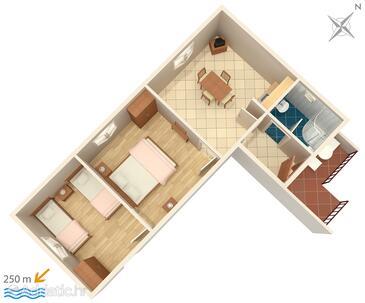 Jezera, Půdorys v ubytování typu apartment, domácí mazlíčci povoleni.