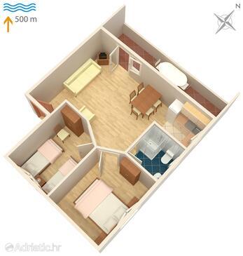 Murter, plattegrond in the apartment, WiFi.