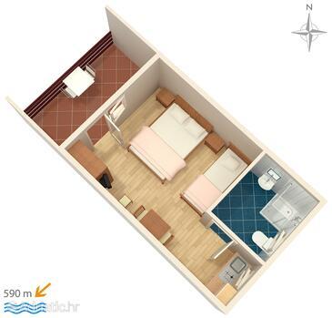 Murter, Plan in the studio-apartment, WIFI.