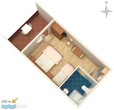 Murter, План в размещении типа studio-apartment, WiFi.