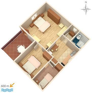 Murter, Plan kwatery w zakwaterowaniu typu apartment, WIFI.