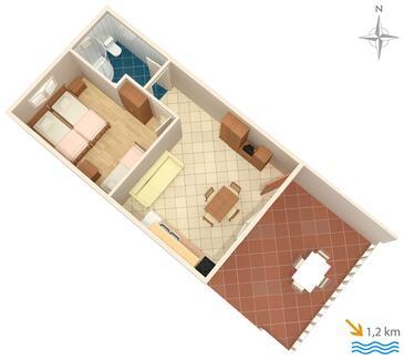 Jezera, Plan kwatery w zakwaterowaniu typu apartment, WIFI.