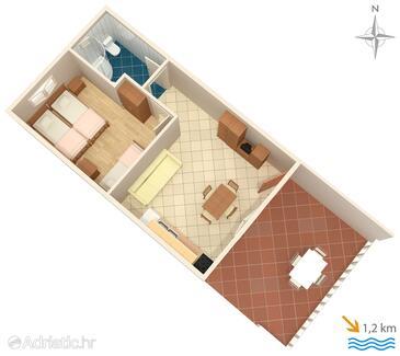 Jezera, Plan in the apartment, WiFi.