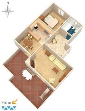 Makarska, Plan kwatery w zakwaterowaniu typu apartment, WIFI.