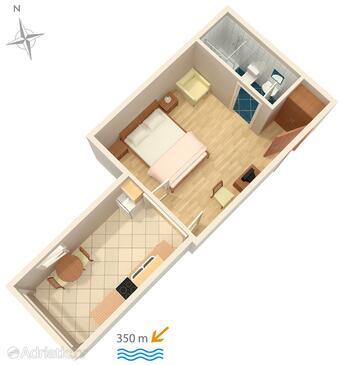 Makarska, Načrt v nastanitvi vrste studio-apartment, WiFi.