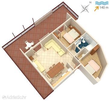 Jezera, План в размещении типа apartment.