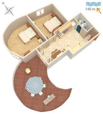 Jezera, Plan kwatery w zakwaterowaniu typu apartment.