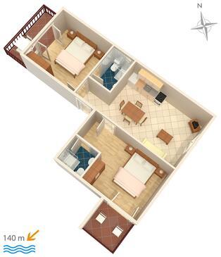 Tisno, Půdorys v ubytování typu apartment, domácí mazlíčci povoleni a WiFi.
