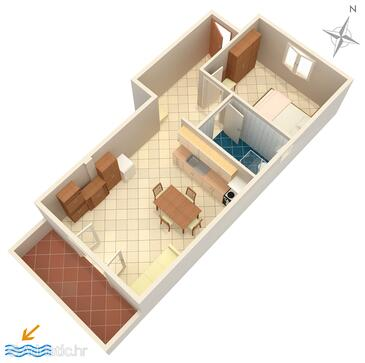 Jezera, План в размещении типа apartment, WiFi.