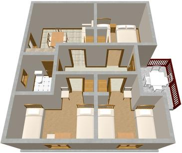 Podaca, Plan in the apartment.