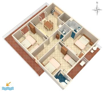Podaca, Plan kwatery w zakwaterowaniu typu apartment, WiFi.