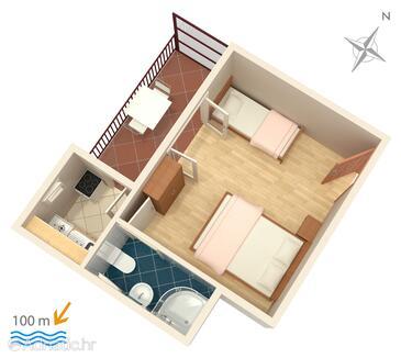 Podaca, Plan dans l'hébergement en type studio-apartment, WIFI.