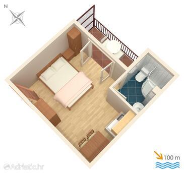Podaca, План в размещении типа studio-apartment, WiFi.