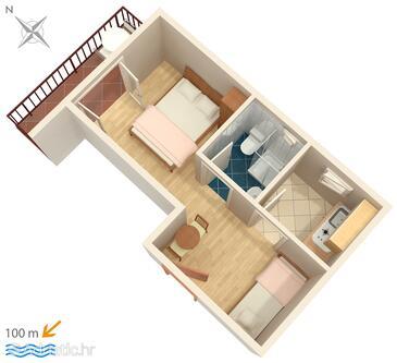 Podaca, Schema nell'alloggi del tipo studio-apartment, WiFi.