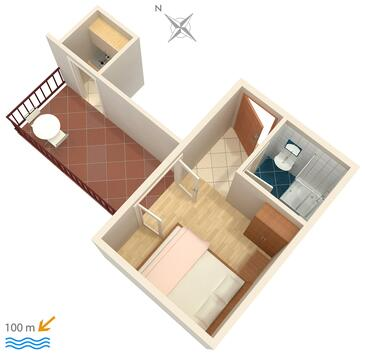 Podaca, Pôdorys v ubytovacej jednotke studio-apartment, WIFI.