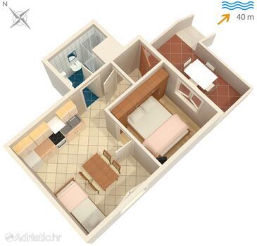 Rogač, Plan kwatery w zakwaterowaniu typu apartment, WiFi.