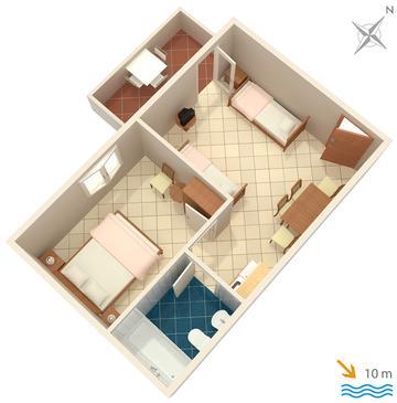 Nečujam, Plan in the apartment, WIFI.