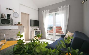 Nečujam, Obývací pokoj v ubytování typu apartment, s klimatizací, domácí mazlíčci povoleni a WiFi.