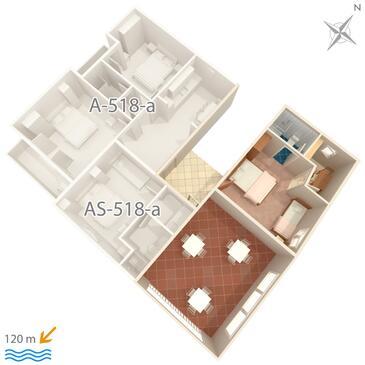 Podgora, Plan kwatery w zakwaterowaniu typu apartment, WiFi.