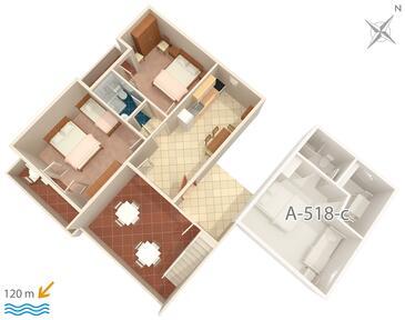 Podgora, Půdorys v ubytování typu apartment, WiFi.