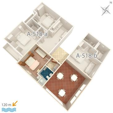 Podgora, Načrt v nastanitvi vrste studio-apartment, WiFi.