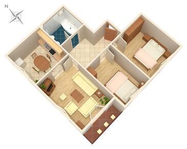 Smoljanac, Půdorys v ubytování typu apartment, WiFi.
