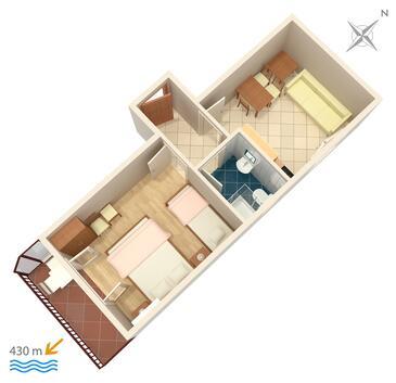 Gradac, Plan kwatery w zakwaterowaniu typu apartment, WiFi.