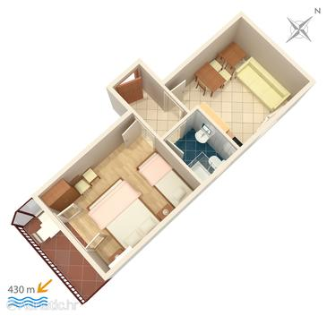 Gradac, Grundriss in folgender Unterkunftsart apartment, WiFi.