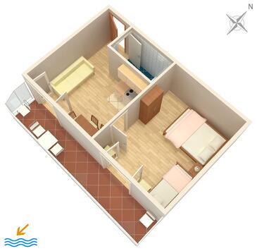 Gradac, Pôdorys v ubytovacej jednotke apartment, WIFI.