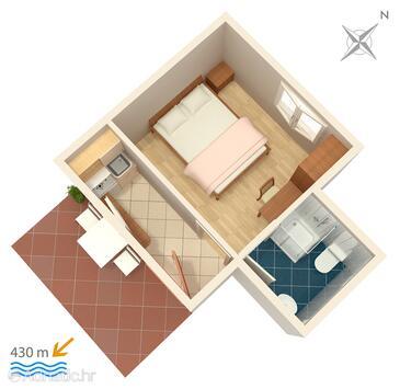 Gradac, План в размещении типа studio-apartment, WiFi.