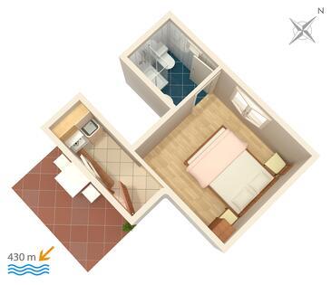 Gradac, Plan kwatery w zakwaterowaniu typu studio-apartment, WiFi.