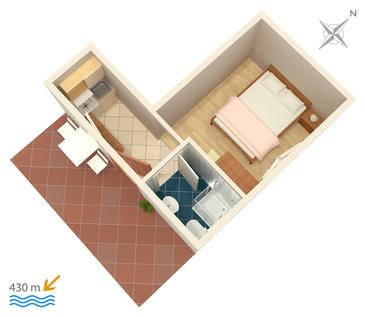Gradac, Plan in the studio-apartment, WIFI.