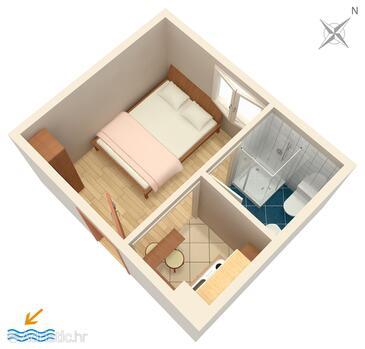 Gradac, Půdorys v ubytování typu studio-apartment, WiFi.
