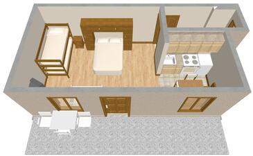 Podgora, Pôdorys v ubytovacej jednotke studio-apartment, WIFI.