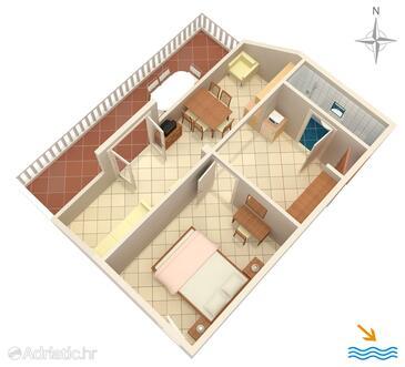 Slano, Půdorys v ubytování typu apartment, domácí mazlíčci povoleni a WiFi.