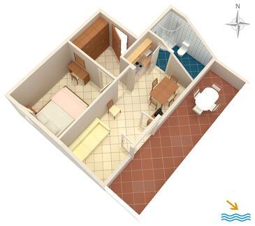 Slano, Plan in the apartment, dopusteni kucni ljubimci i WIFI.