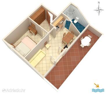 Slano, Nacrt u smještaju tipa apartment, kućni ljubimci dozvoljeni i WiFi.