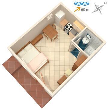 Stomorska, Plan kwatery w zakwaterowaniu typu studio-apartment, dopusteni kucni ljubimci i WIFI.