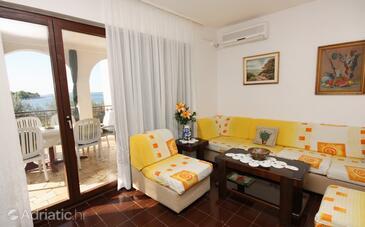 Maslinica, Living room in the apartment, dostupna klima i dopusteni kucni ljubimci.