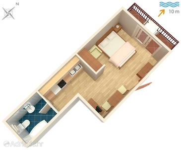 Arbanija, Plan in the studio-apartment, WIFI.